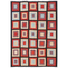 Large Modern Kilim Rug with Squared Design in Red, Blue, Black, Cream, Purple