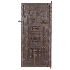 20th Century African Carved Wood Door with Crocodiles and Symbols