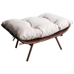 Ottoman in Rosewood and Wrought Iron with Upholstered Cushion by Martin Eisler
