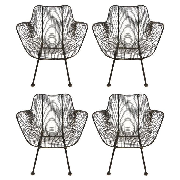 Four Russell Woodard Sculptura Metal Mesh Chair Armchairs Vintage Set Midcentury