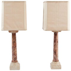 Pair of Neoclassical-Style Carved Marble Table Lamps with Silk Shades