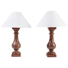 Pair of Scagliola Marble Table Lamps of Baluster Form