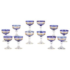 Set 12 Val Saint Lambert Cobalt Cut to Clear Gilt Goblets Champagne or Martinis