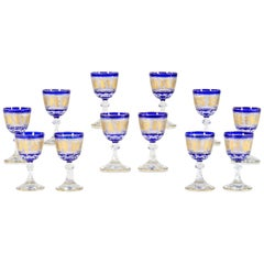Set of 12 Val Saint Lambert Cobalt Overlay Cut to Clear Gilded Wine Goblets