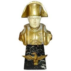 French Empire Gilt Bronze Bust of Napoleon I on Black Base with Eagle Mount