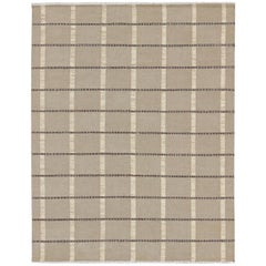 Stripe Design Scandinavian Flat-Weave Rug with Neutral Colors