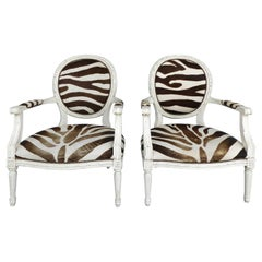 Louis XVI Style Distressed Painted Wood Armchairs with a Faux Zebra Print Skin