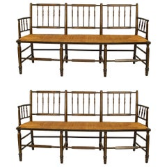 Pair of American Federal Hitchcock Design Settees