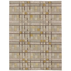 Scandinavian Flat-Weave Rug with Neutral Color Stripe Design