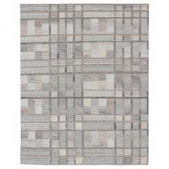 Modern Scandinavian Flat-Weave Rug with Neutral Gray Color Stripe Design