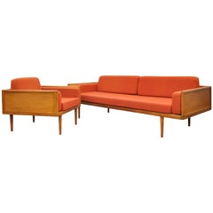 Mel Smilow for Smilow-Thielle Walnut Case Sofa and Lounge Chair Set