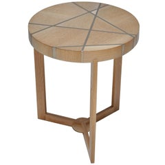 Ray End Table in Bleached Oak and Nickel by Newell Design