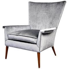 Paul McCobb for Custom Craft Gray Velvet Wingback Lounge Chair