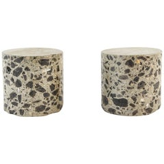 Pair of Cement and Stone Pedestals