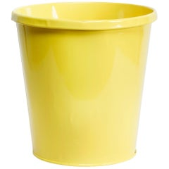 1940s Lit-Ning Products Steel Trash Can Refinished in Gloss Yellow