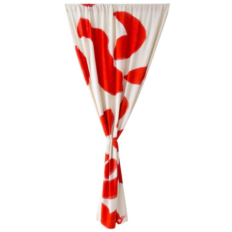 Silk Noil SingleHueHand-Painted RedAmoeba Curtains Fabric Yardage