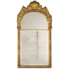 Late 18th Century Dutch Rococo Carved Giltwood and Gesso Wall Mirror