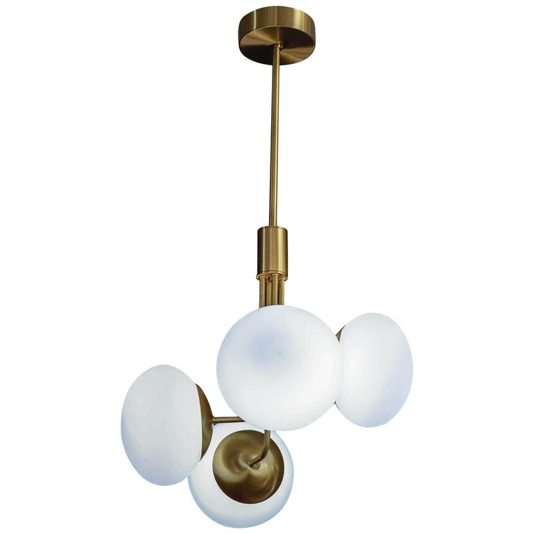 Satin Brass Suspension with Four Lights and Round White Glass Globe For Sale