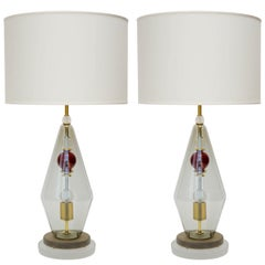 Pair of Diamond Shaped Murano Glass Table Lamps