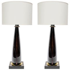 Pair of Tall Dark Purple Murano Glass Table Lamps