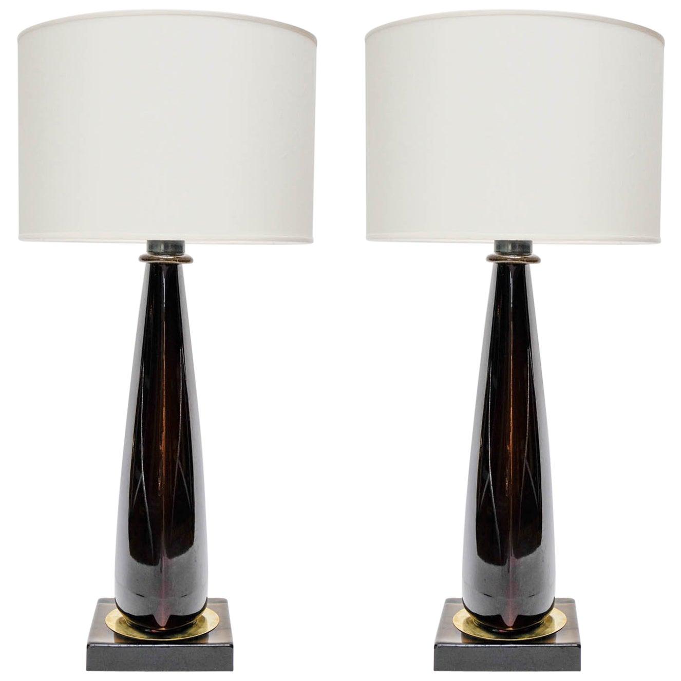 Pair of Tall Dark Purple Murano Glass Table Lamps