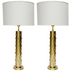 Pair of Tall Brass Table Lamps with Glass Sparkles