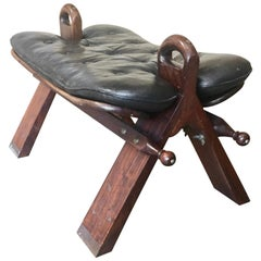 1960s Moroccan Camel Saddle Stool with Marquetry