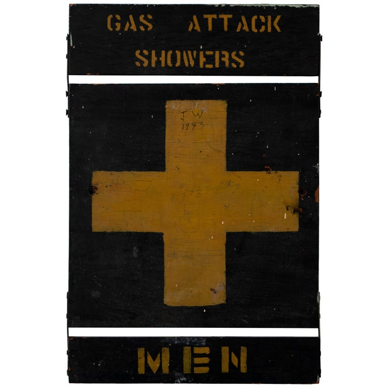Wooden Gas Attack Showers Sign