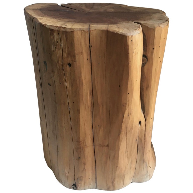 Wooden Stump Stool Side Table