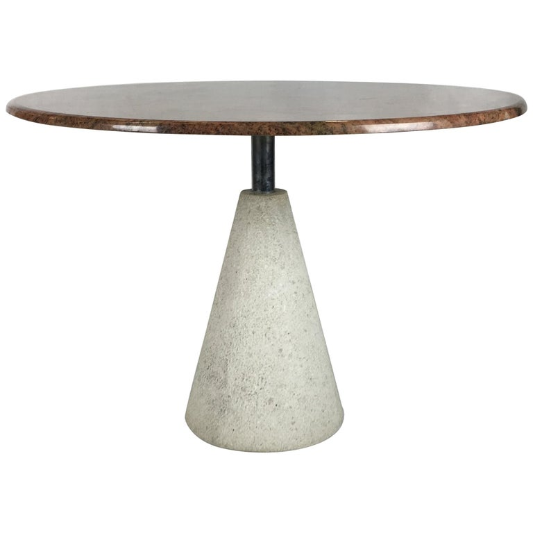 Modernist Concrete And Steel Dining Table By Saporiti Italia For - Concrete pedestal dining table