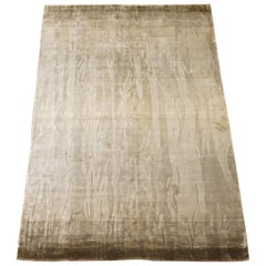 Modern Bamboo Silk Rug with Abstract Design
