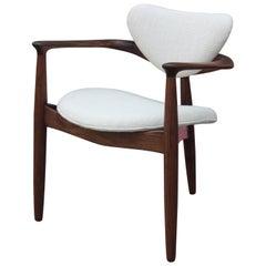 Modern Studio Made Tri-Legged Danish Style Walnut Armchair by Norm Stoecker