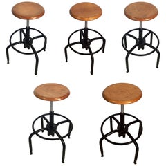 Black Metal and Chrome Bar Stools with Round Wood Seats 'Individually Priced'