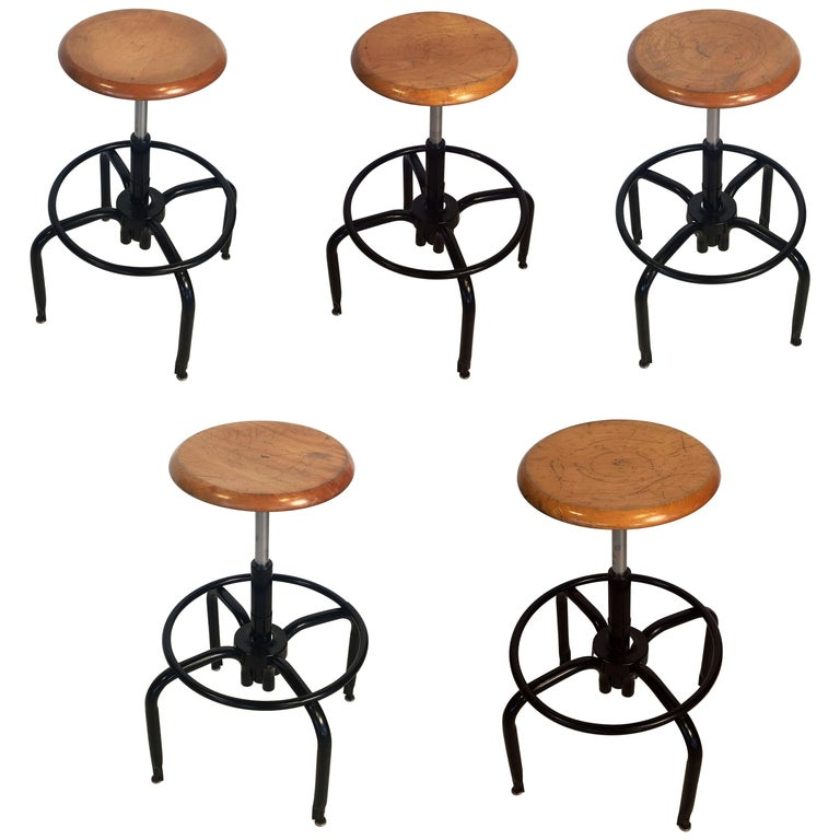 Black Metal And Chrome Bar Stools With Round Wood Seats Individually Priced
