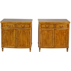 Pair of Sheraton Revival Style Custom Cabinets in Satinwood with Inlay