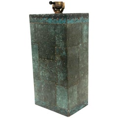 Hand-Hammered Copper Patchwork Table Lamp Base
