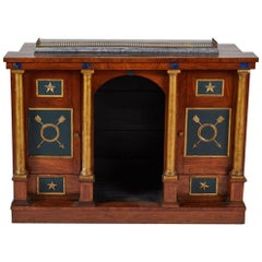 Early 19th Century Empire Console Cabinet with Parcel-Gilt and Lapis Details