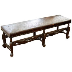 Antique Spanish Colonial Hand-Carved Mahogany Embossed Leather Long Bench
