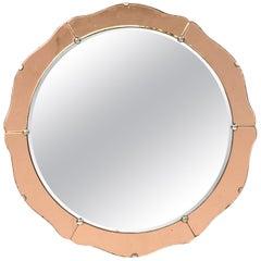 English Art Deco Round Mirror with Copper Glass (Diameter 19 3/4)