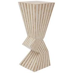 Postmodern 36 in. Zig Zag Striped Tessellated Stone Pedestal, 1990s