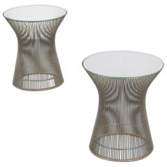Chrome and Glass Side or End Tables by Warren Platner for Knoll, USA, 1970s