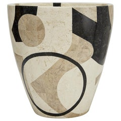 "Large Post Modern Tessellated Stone Round ""Et Cetera"" Planter, 1990s"