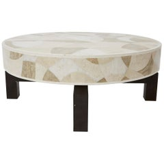 "Round Tessellated Stone ""Carnival"" Cocktail Table, 1990s"