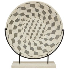 """Tessellated Stone """"Illusion"""" Plate on Iron Stand"""