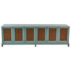 Modern Turquoise-Stained Three-Part Side Cabinet