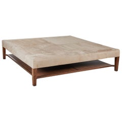 Large Custom Suede Coffee Table or Ottoman