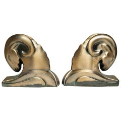 Art Deco Bronze Plated Ram Bookends, circa 1930s
