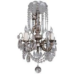 Italian Silvered Cherub Crystal Chandelier