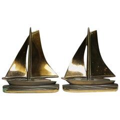Solid Copper and Bronze Art Deco Sailboat Bookends, circa 1930s-1940s