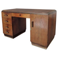 French Art Deco Rosewood Pedestal Desk